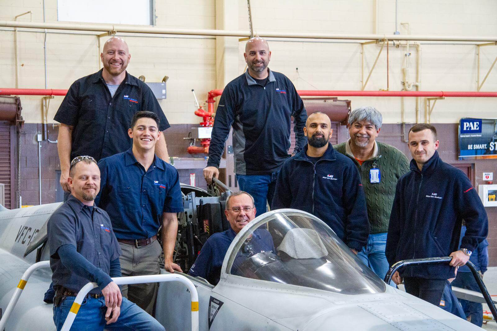The Martin-Baker team are pictured here at NAS Fallon during the seat installation on the 5th December 2019.